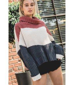 POL Stripe Chuncky Sweater Ginger Rose/Multi