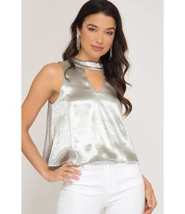 Choker Satin Top Silver
