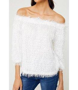 Textured Off Shoulder Eyelash Sweater Off White