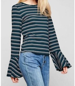 Stripe Bell Sleeve Top Forest Mix