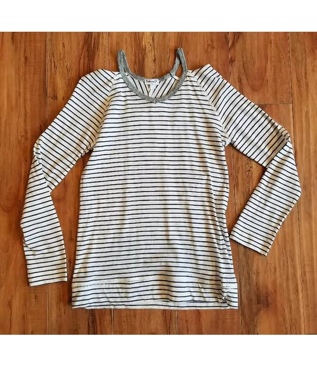 Splendid L/S Stripe Cut Out Neck Line Tee Off White/Navy