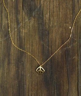 Delicate square peace sign charm necklace