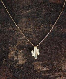 cactus doodle delicate charm necklace