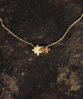 Delicate Puzzle Piece Charm Necklace