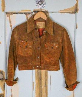 vintage levi suede studded cropped jacket