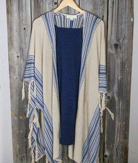 Sweater Kimono W/Stripe Fringe Trim