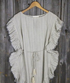 Striped Cotton Ruffled Frayed Dress w/Tie