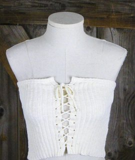 Lace Up Sweater Tube Top