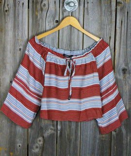 Off Shoulder Bell Sleeve Stripe Crop Top