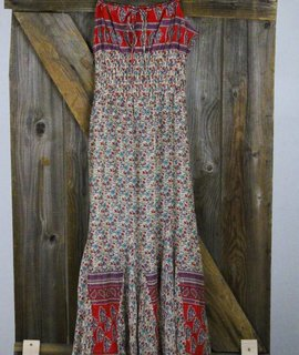 Bohemian Smocked Waist Cotton Maxi