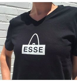 ESSE Purse Museum ESSE Tee: White Logo, Black V-Neck