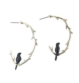 Chee-Me-No Chee-Me-No Oval Branch & Bird Hoops