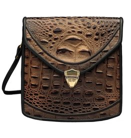 Roche Leather Roche Berkeley Crossbody: Bronze Croc