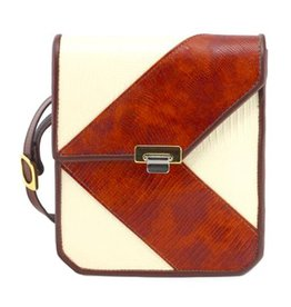 Roche Leather Roche Kentfield Crossbody: Brown & Cream