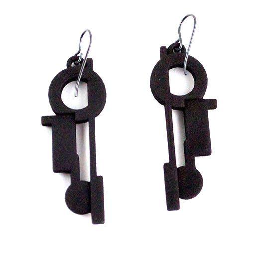 Susan Sanders Susan Sanders 3D Print Earrings #44: Black