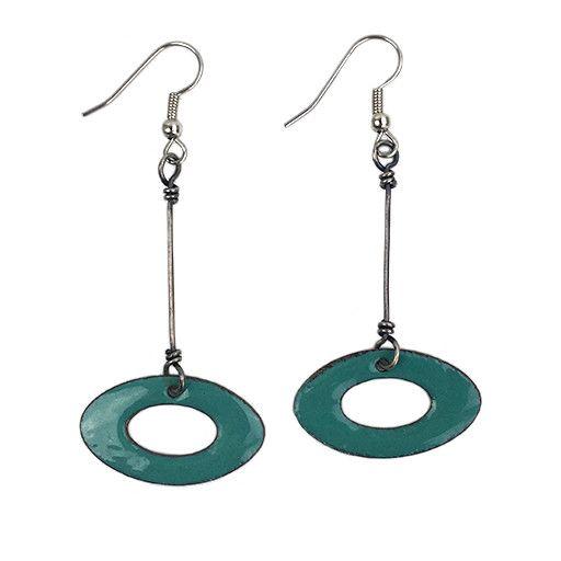 Ally Weaver Ally Weaver Oval Dangles: Teal