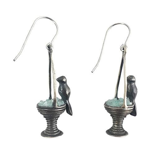 Chee-Me-No Chee-Me-No Bird Bath Dangles: Patina