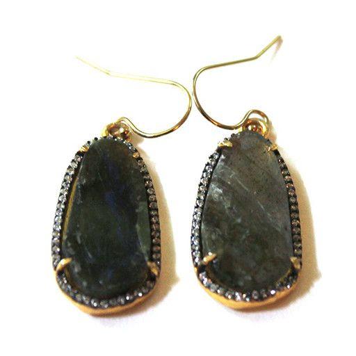 Avindy Avindy Pave Pebble Earrings