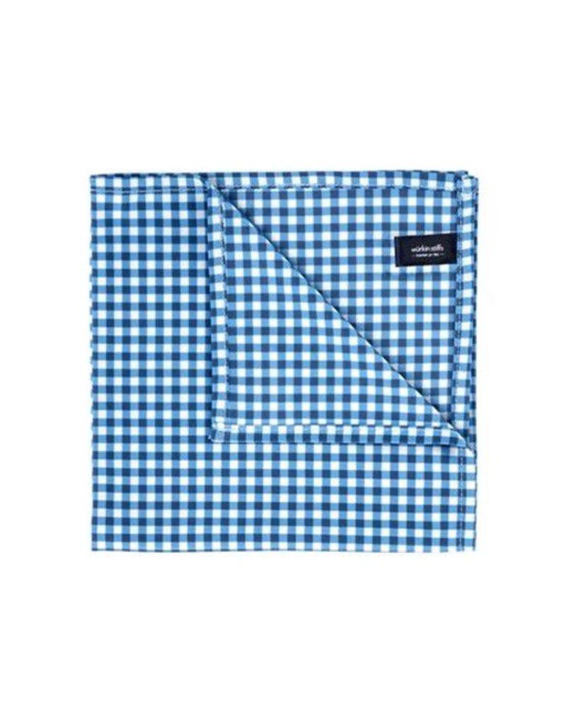 Wurkin Stiffs Wurkin Stiffs Pocket Square: Blue Check