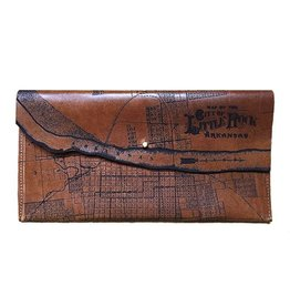 Tactile Craftworks Tactile Craftworks Little Rock Map Clutch: Dark Brown