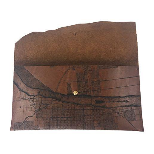 Tactile Craftworks Tactile Craftworks Little Rock Map Clutch: Dark Brown