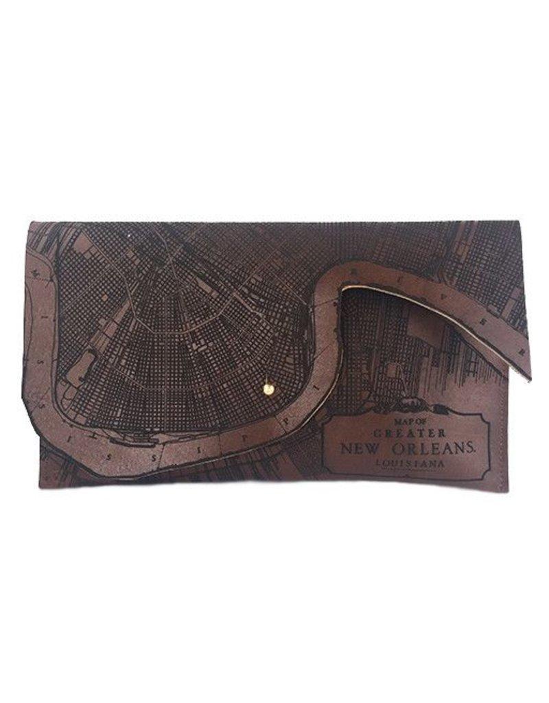 Tactile Craftworks Tactile Craftworks New Orleans Map Clutch: Dark Brown