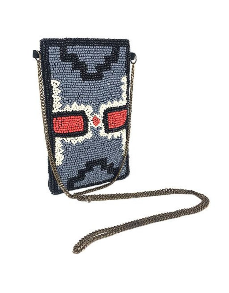 INK+ALLOY INK+ALLOY Small Beaded Crossbody: Double Red Cross