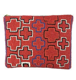 INK+ALLOY INK+ALLOY Beaded Clutch: Red Multi Cross