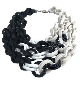 Klamir Klamir Clustered Rings Necklace: Black & White