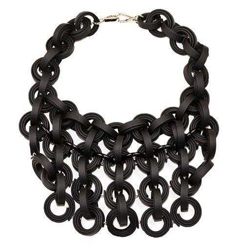 Klamir Klamir Concentric Rings Necklace: Black
