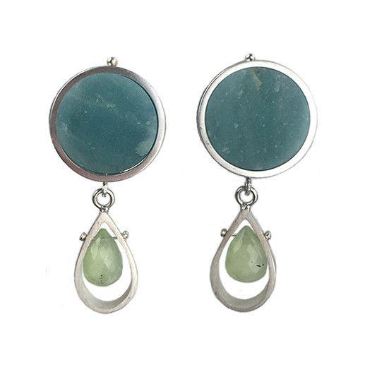 Ashka Dymel Ashka Dymel Earrings: Amazonite & Prehnite