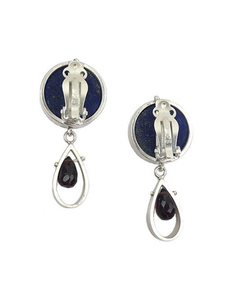 Ashka Dymel Ashka Dymel Earrings: Lapis & Garnet