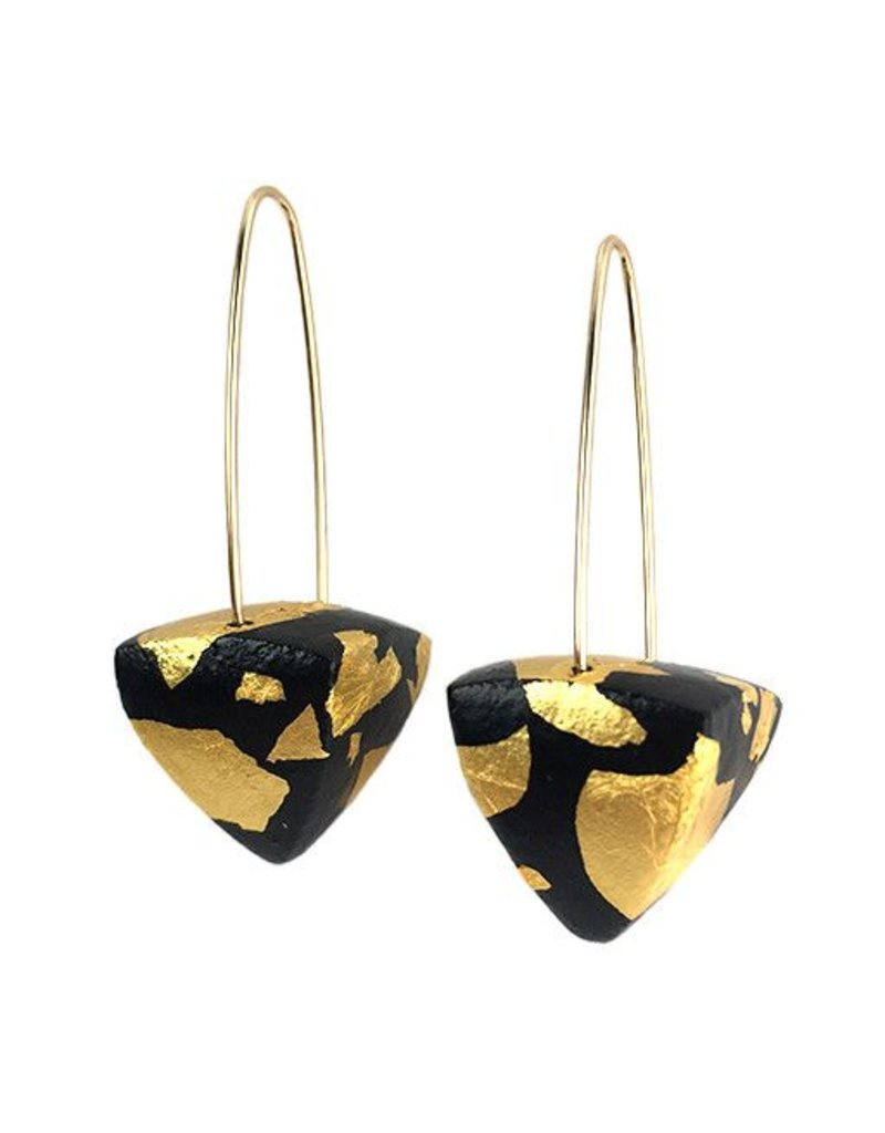 Keith Lewis Keith Lewis Metal Leaf Pyramid Dangles: Black & Gold