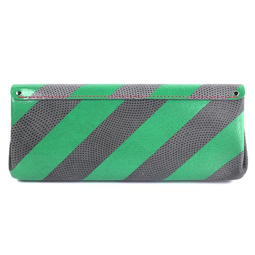Carmine Carmine Long Stripe Wallet: Green