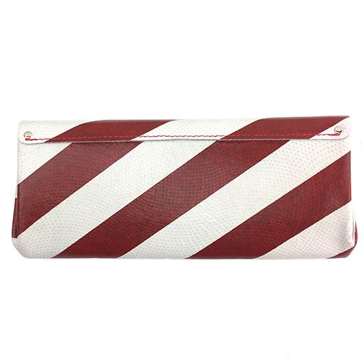 Carmine Carmine Long Stripe Wallet: Red