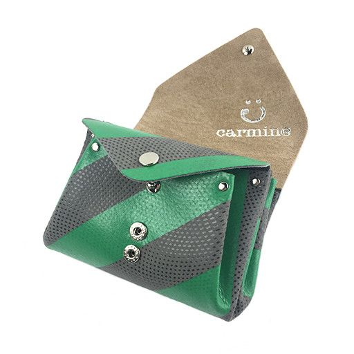 Carmine Carmine Mini Stripe Wallet: Green