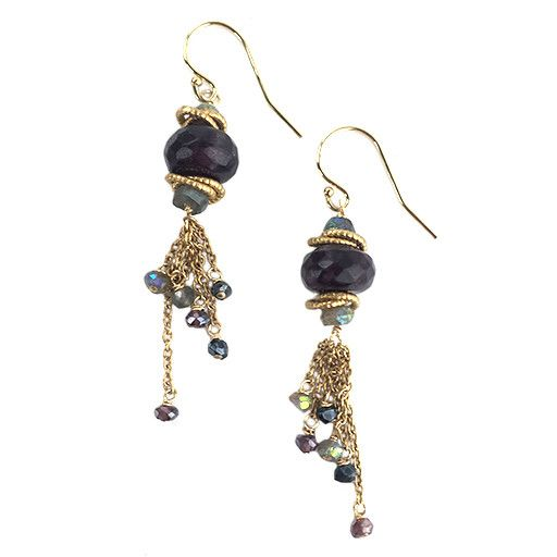 Avindy Avindy Faceted Plum Earrings