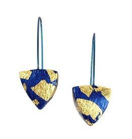 Keith Lewis Keith Lewis Metal Leaf Pyramid Dangles: Blue & Gold