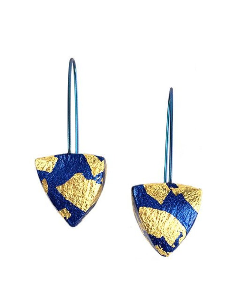 Keith Lewis Keith Lewis Metal Leaf Pyramid Dangles: Blue & Gold