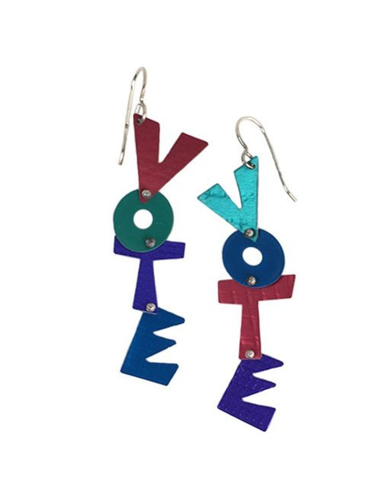 Hsu Studios Hsu Studios Aluminum Vote Dangles: Red Multi