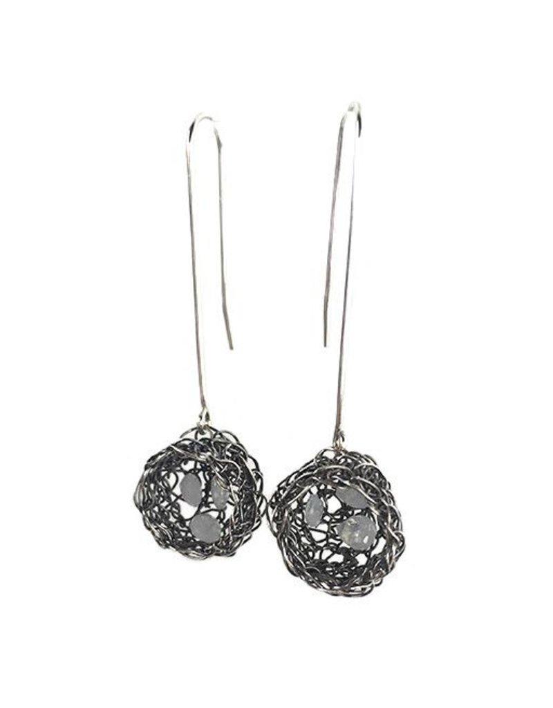 Cottler Fox Cottler Fox Silver & Moonstone Basket  Earrings