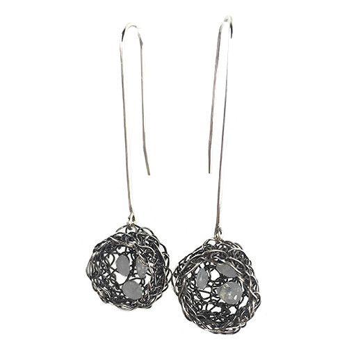 Cottler Fox Cottler Fox Basket Earrings: Silver & Moonstone