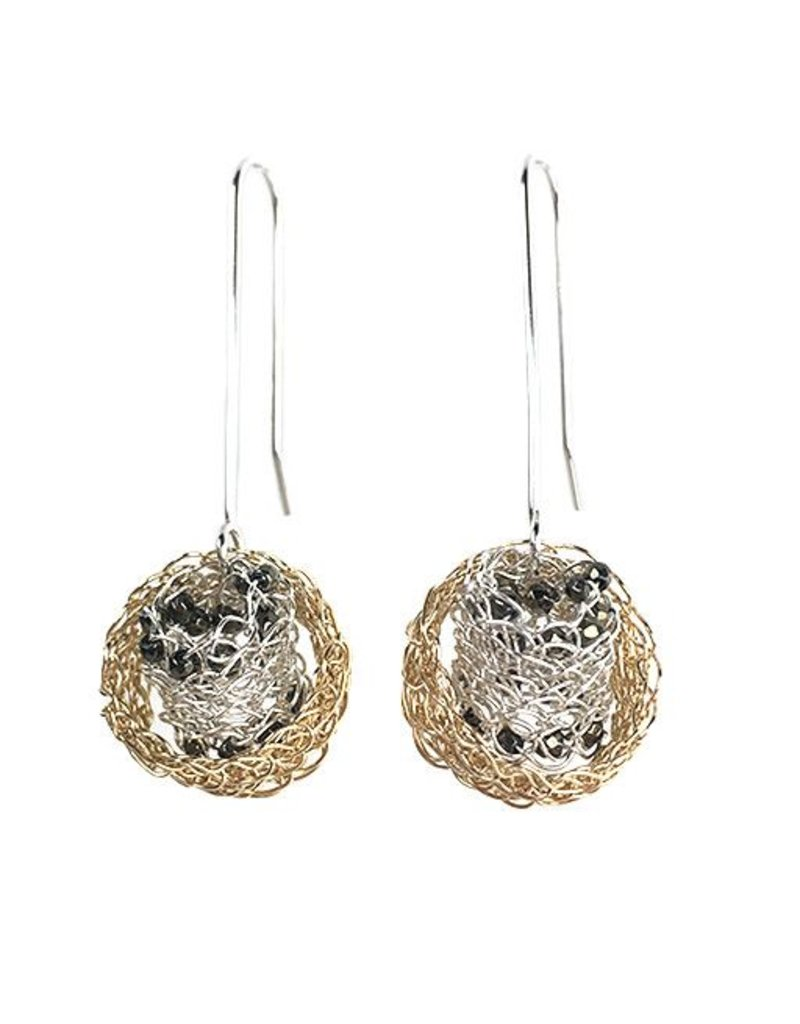 Cottler Fox Cottler Fox Silver & Gold with Pyrite Basket Earrings
