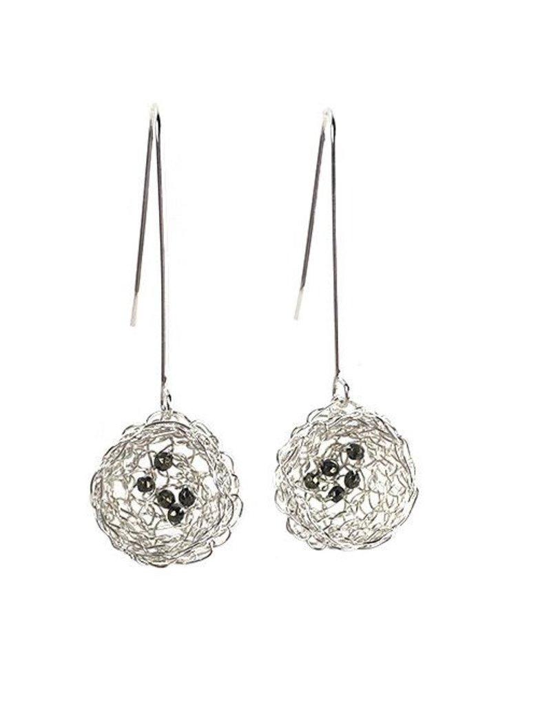 Cottler Fox Cottler Fox Silver & Pyrite Basket Earrings