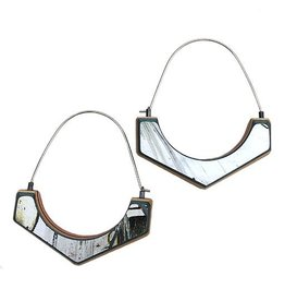 Tara Locklear Arc Hoops: Gray / Red