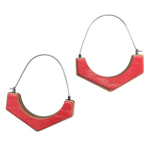 Tara Locklear Tara Locklear Arc Hoops: Gray / Red