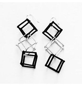 Ludvicks Ludvicks 3 Black & Silver Cubes Earrings
