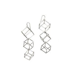 Ludviks Ludviks 3 Silver Cubes Earrings