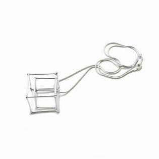 Ludviks Ludviks Medium 2 Silver Cube Pendant