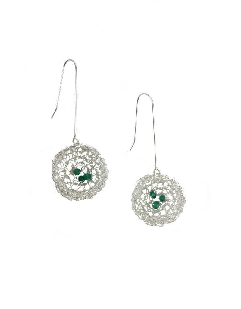 Cottler Fox Cottler Fox Large Silver & Emerald Basket Earrings